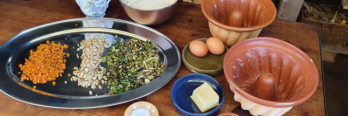 Elsässer Gugelhupf mit geröstetem Suppengemüse