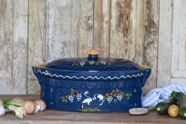 Brotbacktopf, blau mit Storchen-Dekor - auch zum Schmoren geeignet, holzbackofenfest