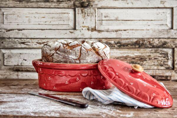 Brotbacktopf, rot mit Punkte-Dekor - auch zum Schmoren geeignet, holzbackofenfest