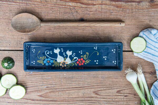 Schale für Kochlöffel KÄTZCHEN, blau