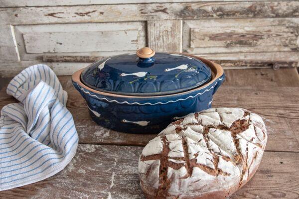 Brotbacktopf, blau mit Laufenten-Dekor - auch zum Schmoren geeignet, holzbackofenfest