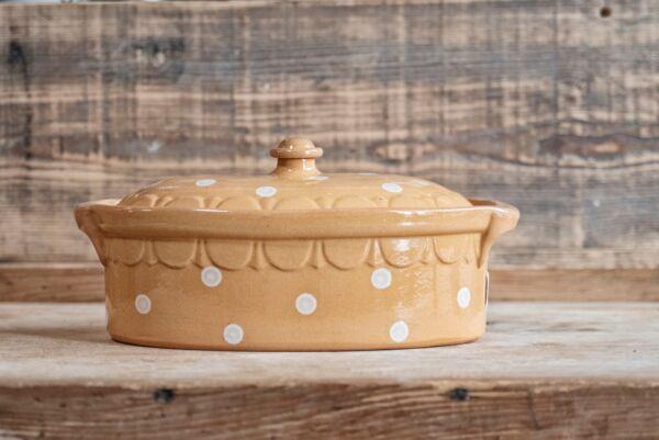 Brotbacktopf, Terrine / Bäckeroffe -  beige mit Punkte-Dekor - auch zum Schmoren geeignet, holzbackofenfest