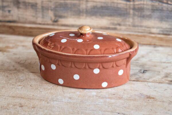 Brotbacktopf, terra mit Punkt-Dekor - auch zum Schmoren geeignet, holzbackofenfest