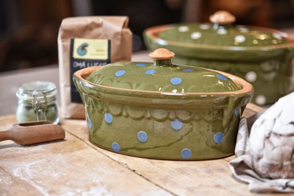 Brotbacktopf / Terrine No. 4 LILLY, grün/blau