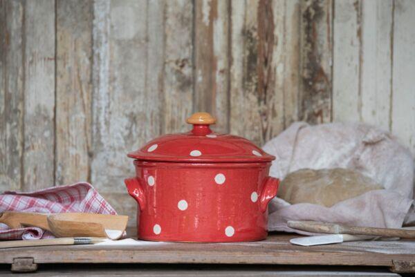Brotbacktopf, rot mit Punkt-Dekor - auch zum Schmoren geeignet, holzbackofenfest