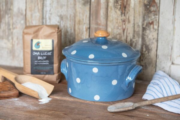 Brotbacktopf, hellblau mit Punkt-Dekor - auch zum Schmoren geeignet, holzbackofenfest