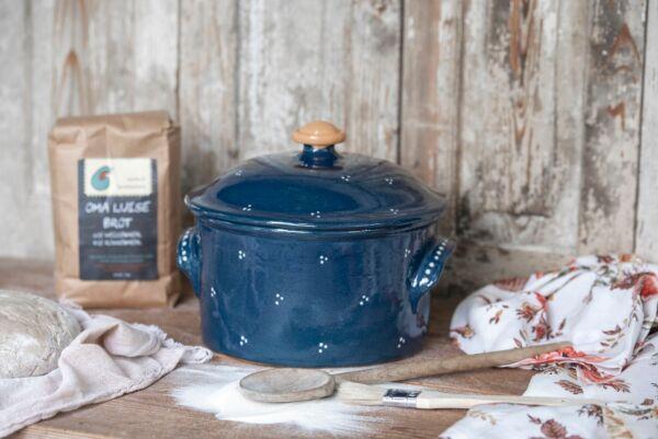 Brotbacktopf, blau mit Punkte-Dekor - auch zum Schmoren geeignet, holzbackofenfest