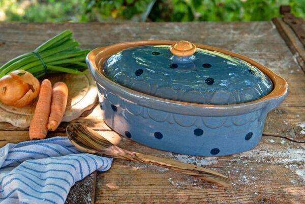 Brotbacktopf / Terrine No. 3 LILLY, hellblau/blau