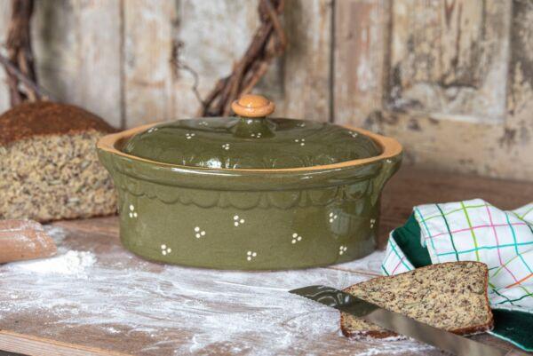 Brotbacktopf, grün, mit Punkte-Dekor - auch zum Schmoren geeignet, holzbackofenfest