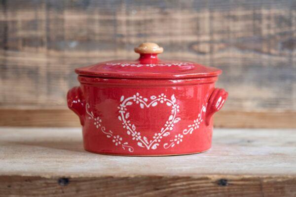 Brotbacktopf -  rot mit Herz-Dekor - auch zum Schmoren geeignet, holzbackofenfest