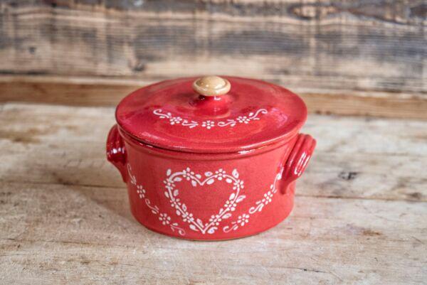 Brotbacktopf, rot mit Herz-Dekor - auch zum Schmoren geeignet, holzbackofenfest