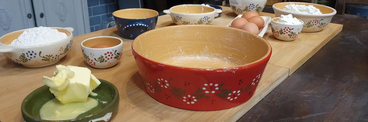Fotos zum Rezept: Käsekuchen in der Tonform gebacken