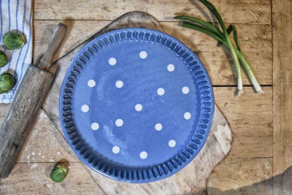 Tarteform 'Lilly', ø 32 cm, hellblau/weiß